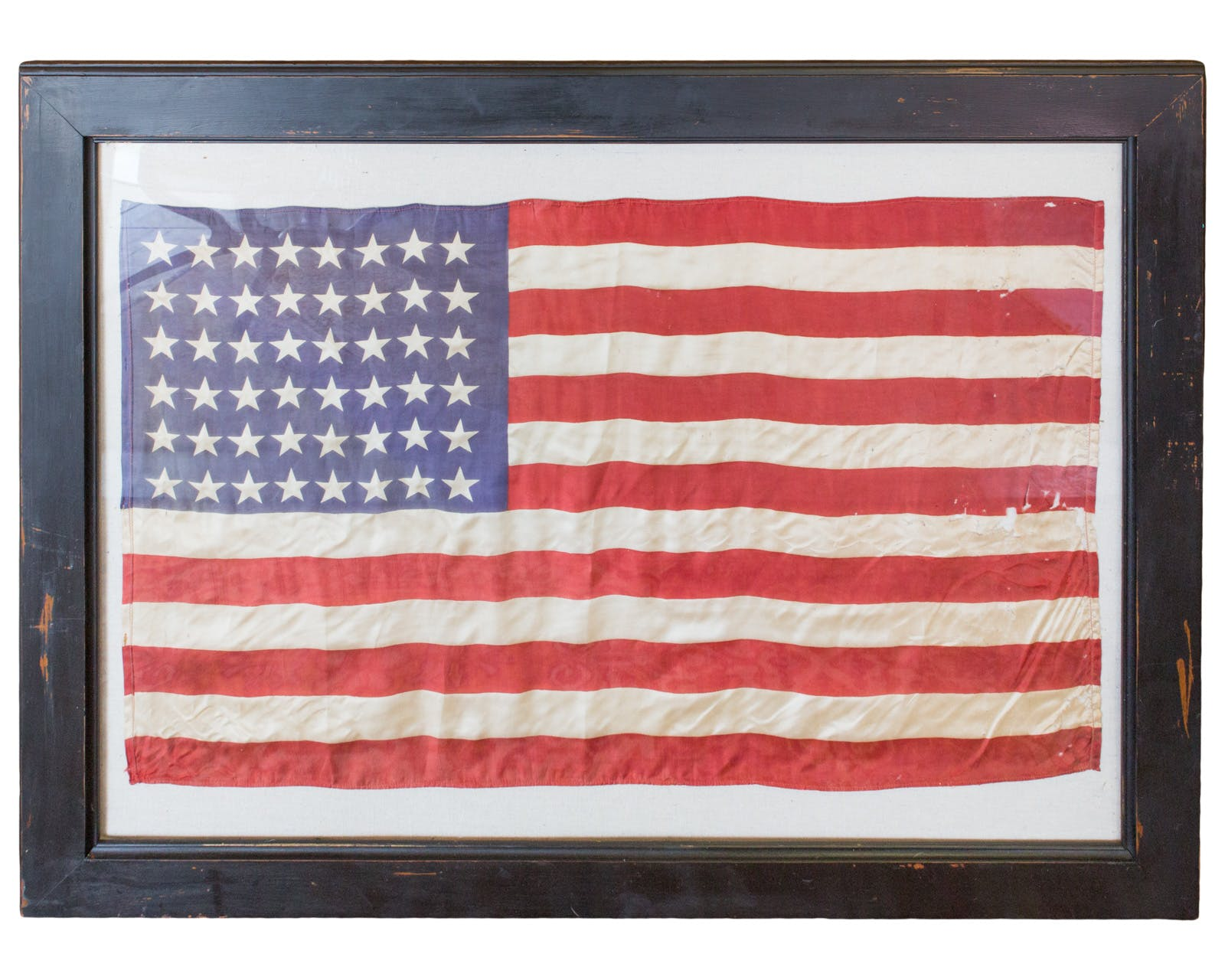 Vintage Framed Silk 48 Star American Flag
