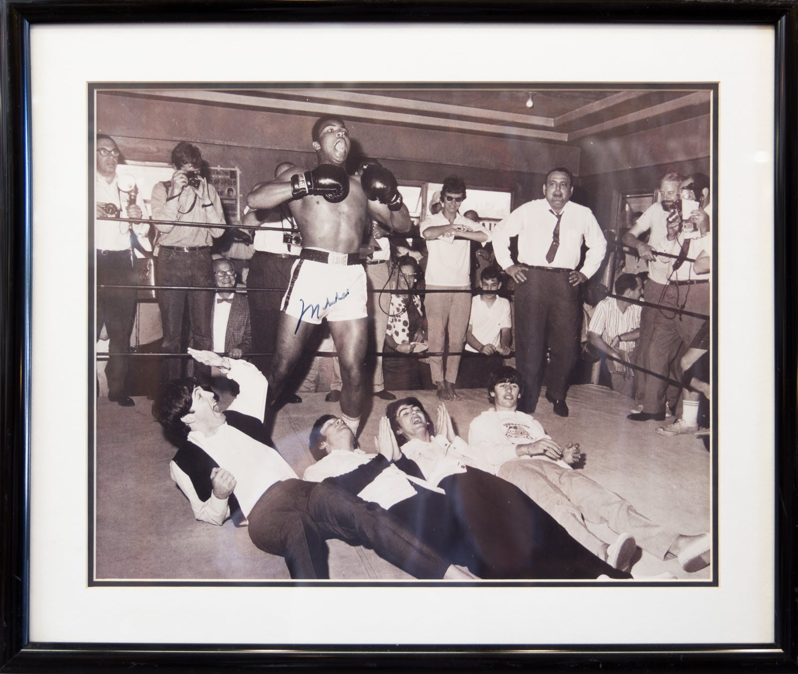 Vintage Muhammad Ali with The Beatles Photo Signed by Ali
