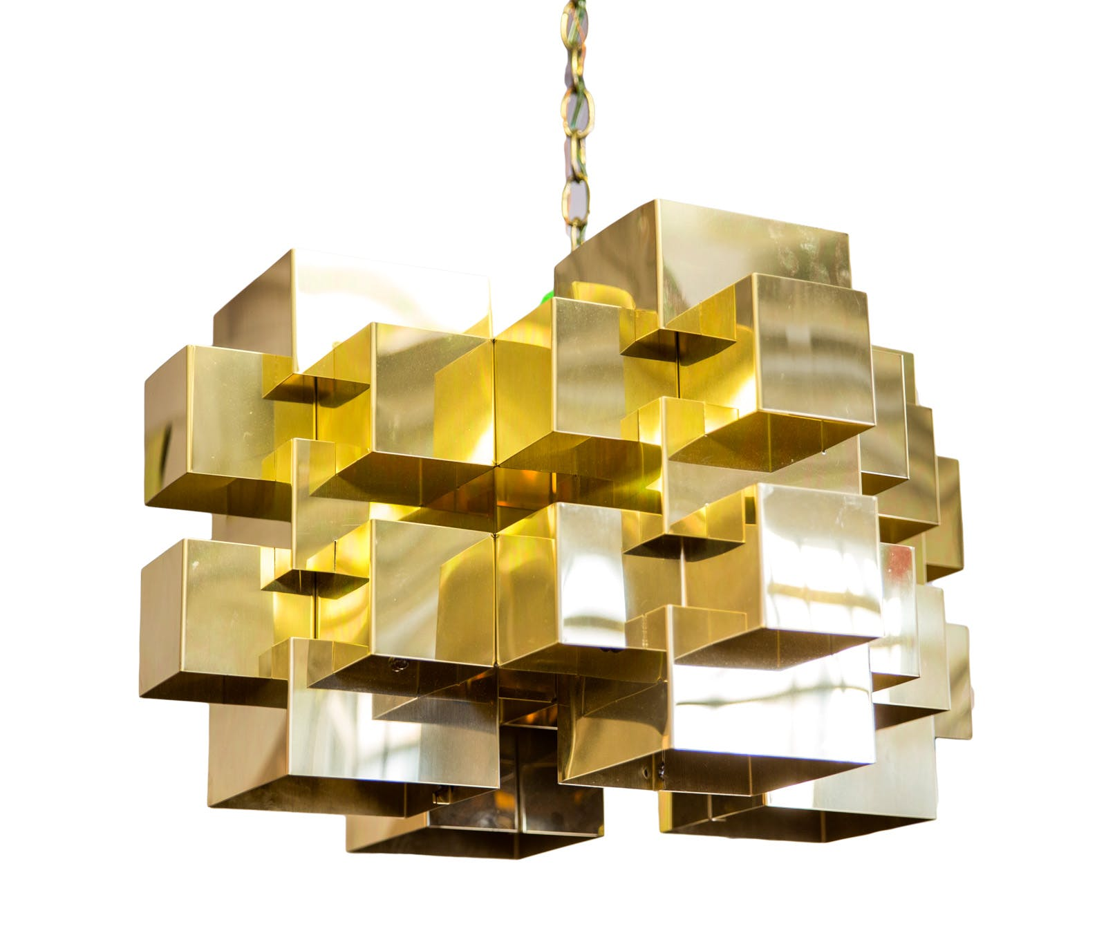 Polished Brass Cubist Chandelier by Curtis Jere (ON HOLD)