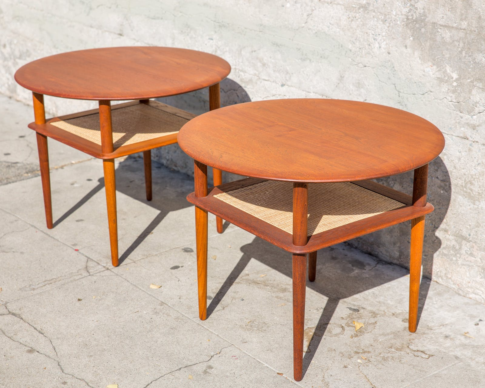 Round Side Tables in Solid Teak by Peter Hvidt for France and Sons (Pair)