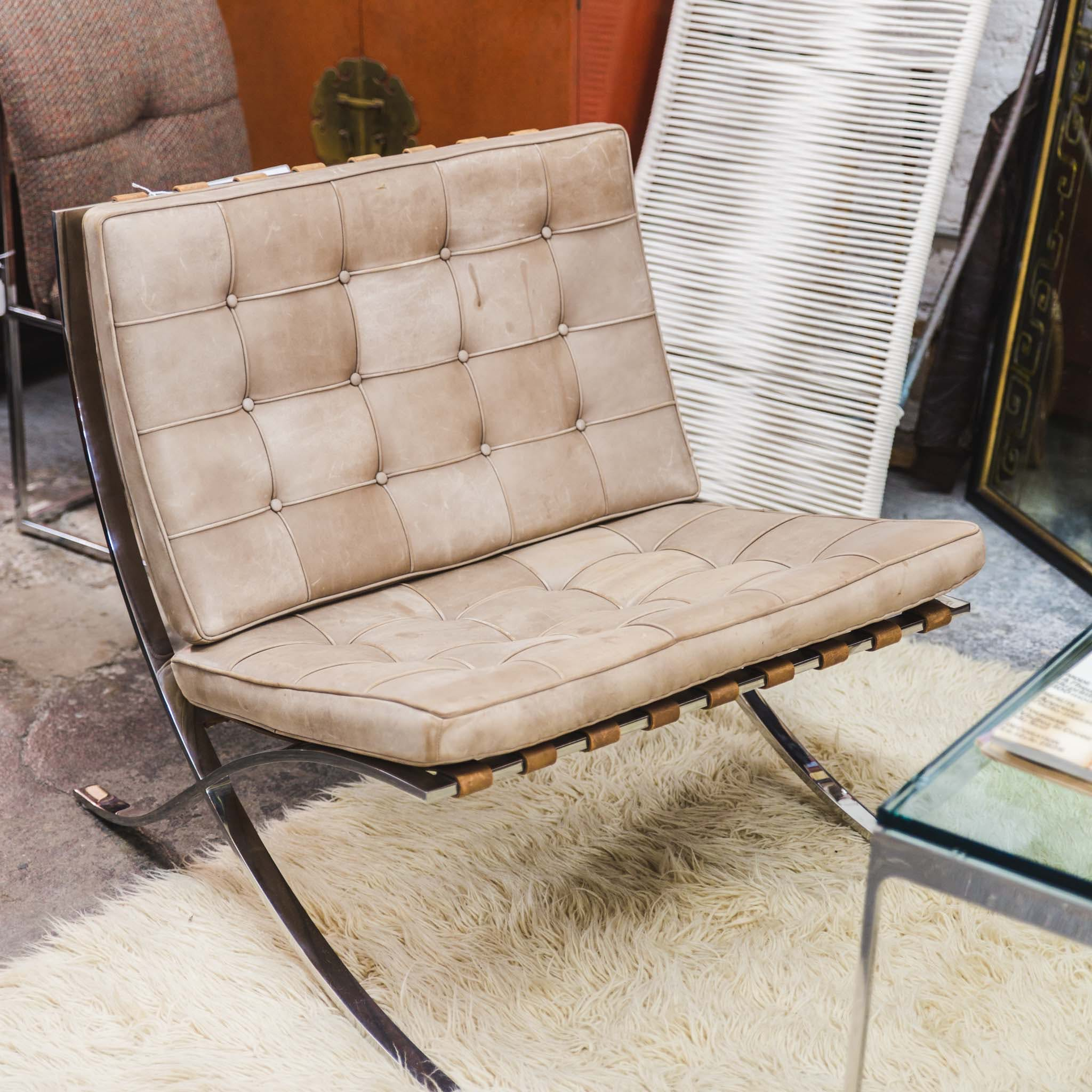 Vintage Barcelona Chair By Ludwig Mies Van Der Rohe, Knoll (Pair Available)
