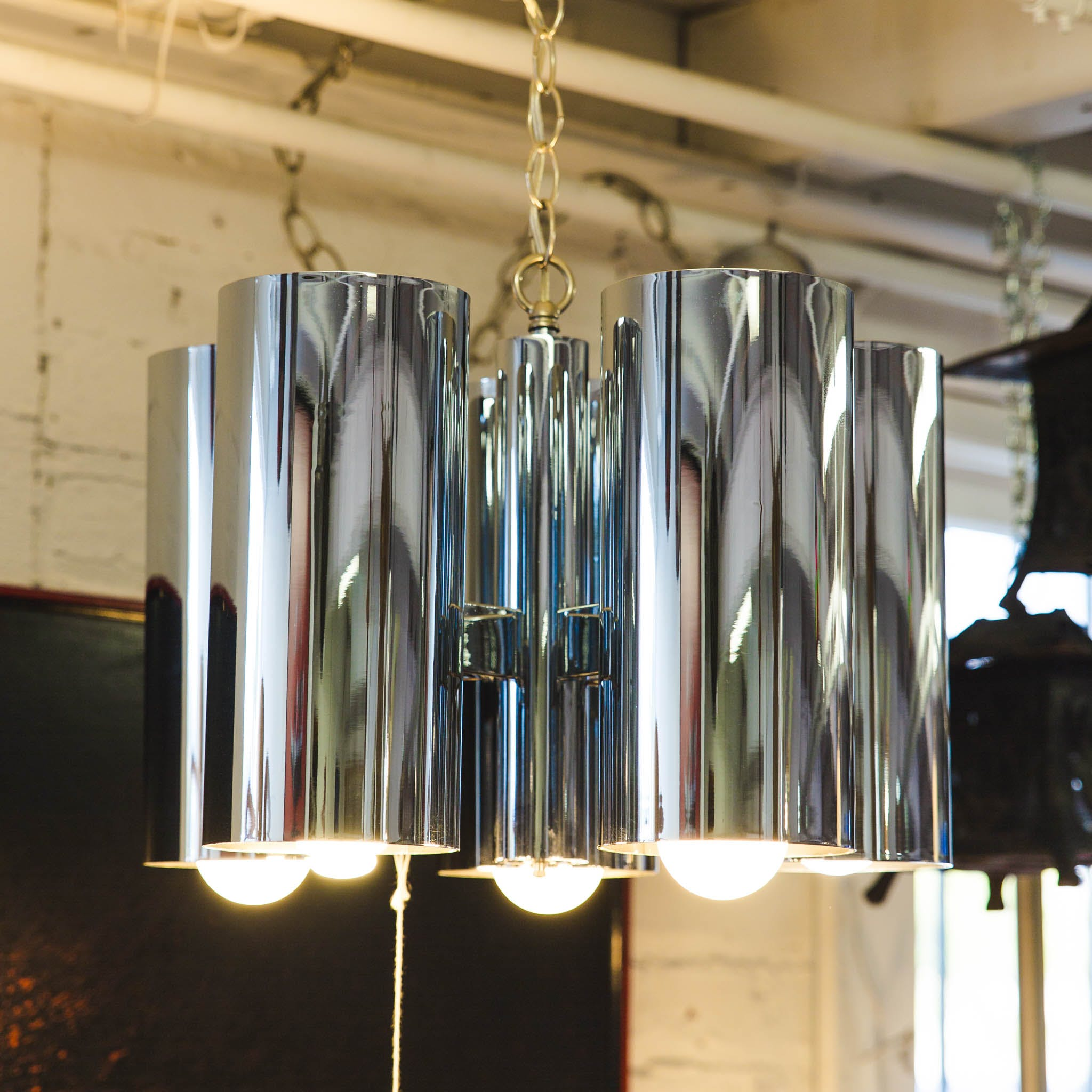 1960s Architectural Chrome Robert Long Chandelier The Blue Door