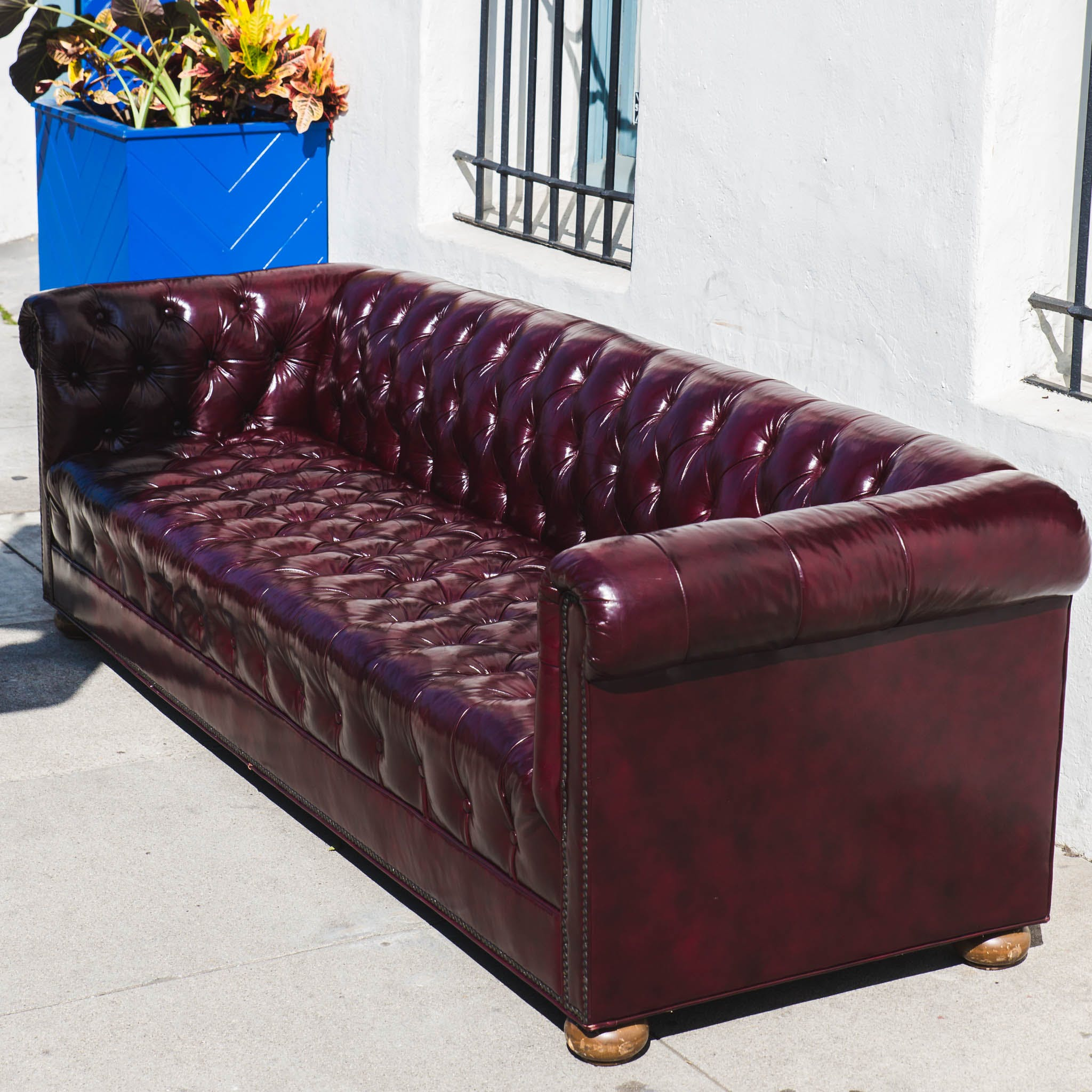 Everett Tufted Leather Settee In 2019: Vintage Leather Chesterfield Tufted Sofa