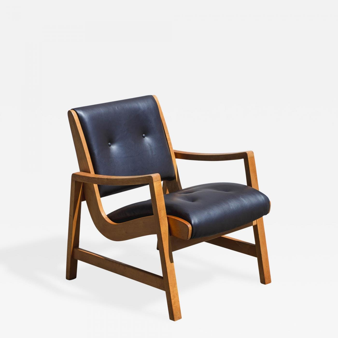 Jens Risom Beech Wood And Leather Lounge Chair The Blue Door