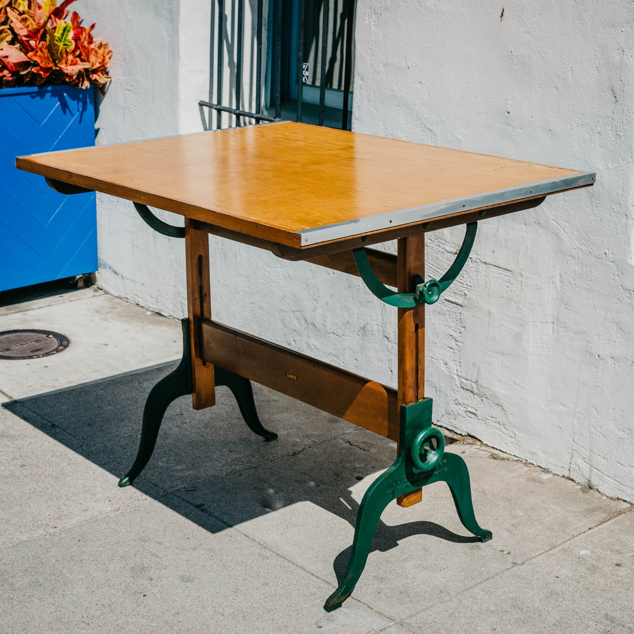 Vintage 1940s Drafting Table With Maple Top And Cast Iron Legs Produced By A Lietz Company