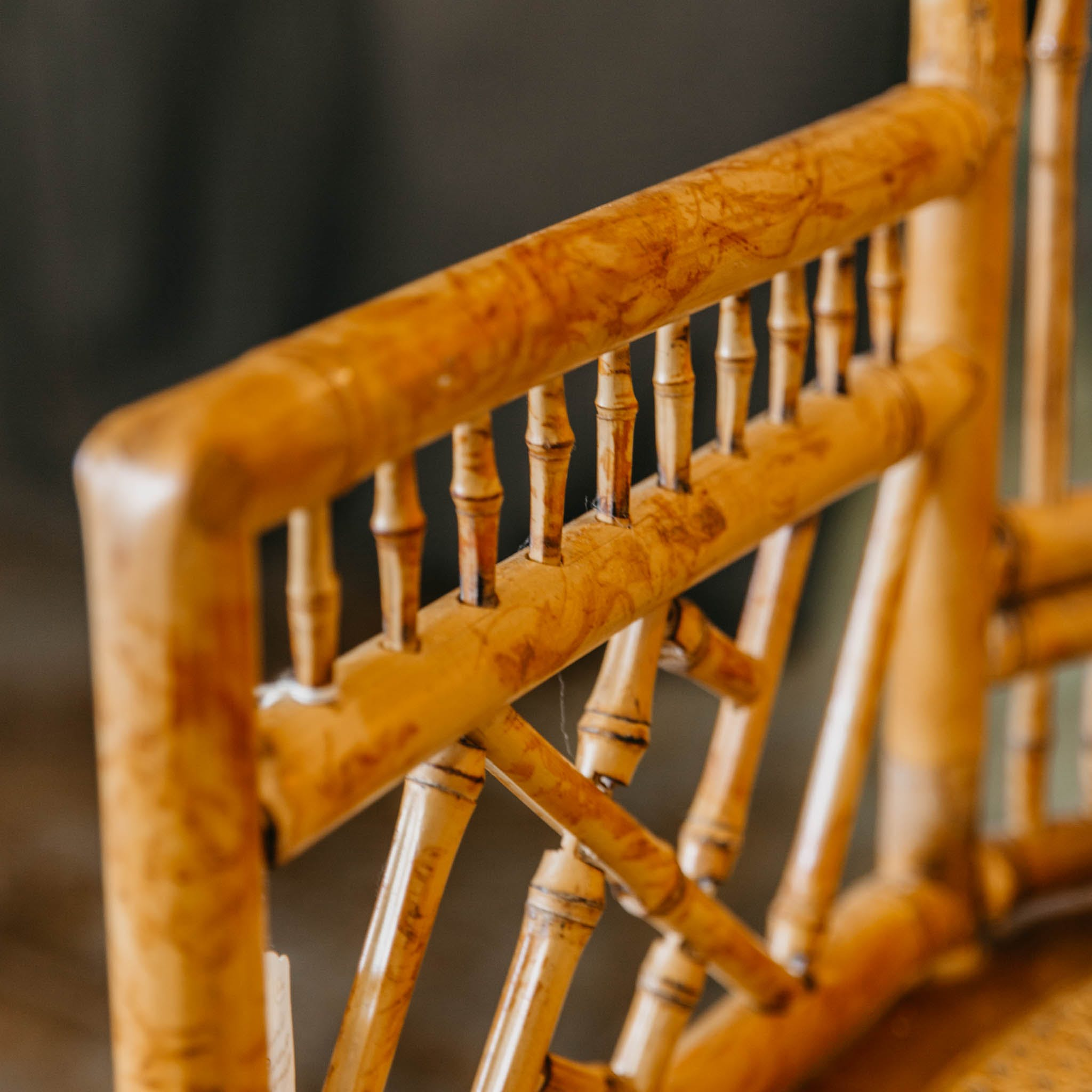 Vintage Rattan And Bamboo Settee The Blue Door