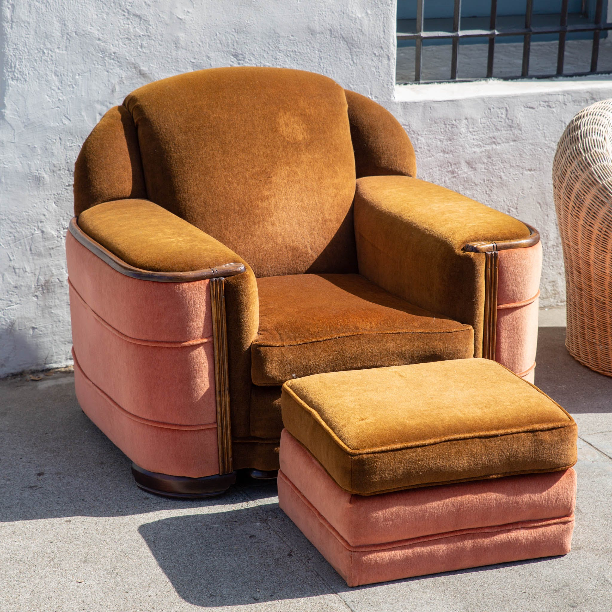 1920s Art Deco Club Chair and Ottoman with Original Upholstery