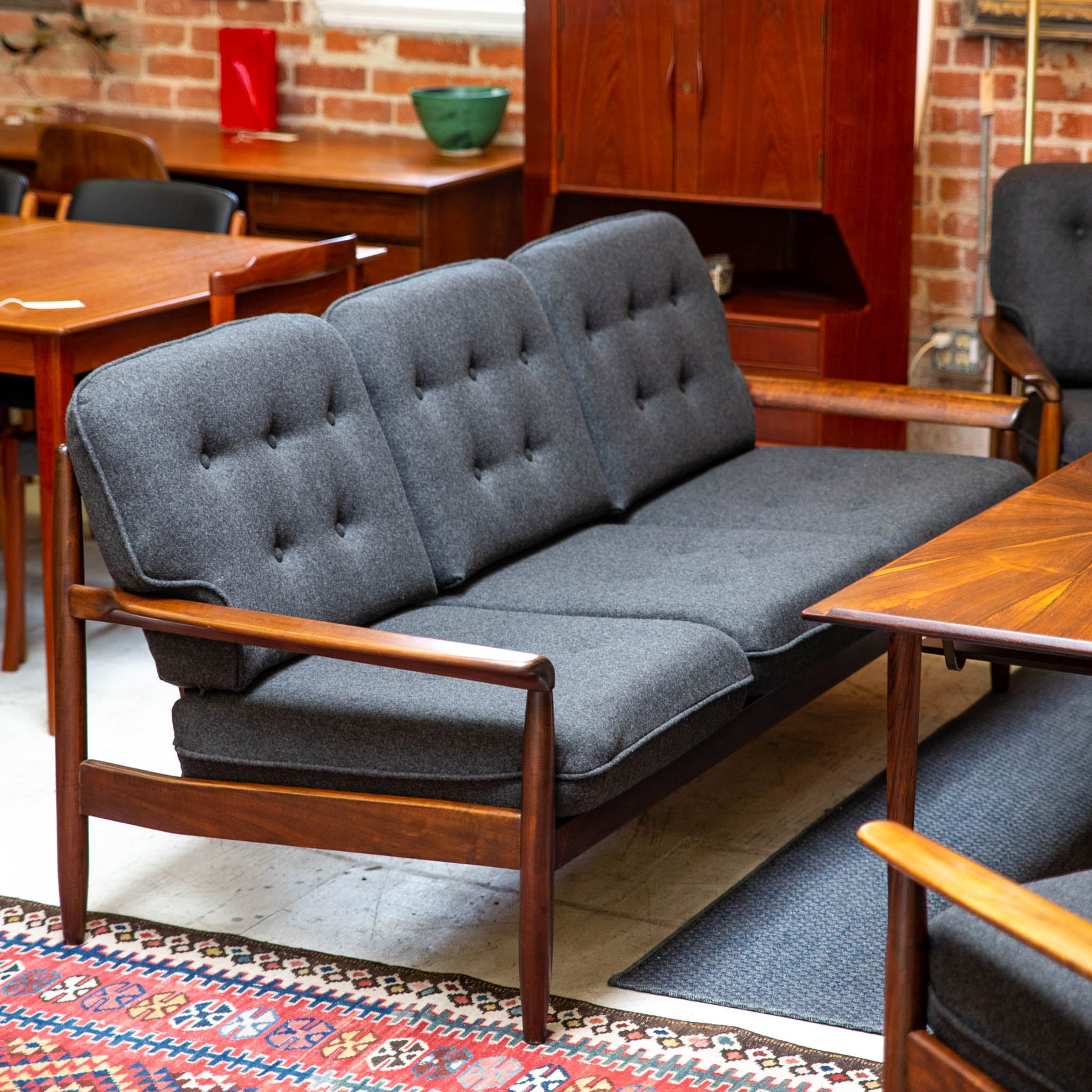 Mid Century Danish Teak And Upholstered Sofa The Blue Door
