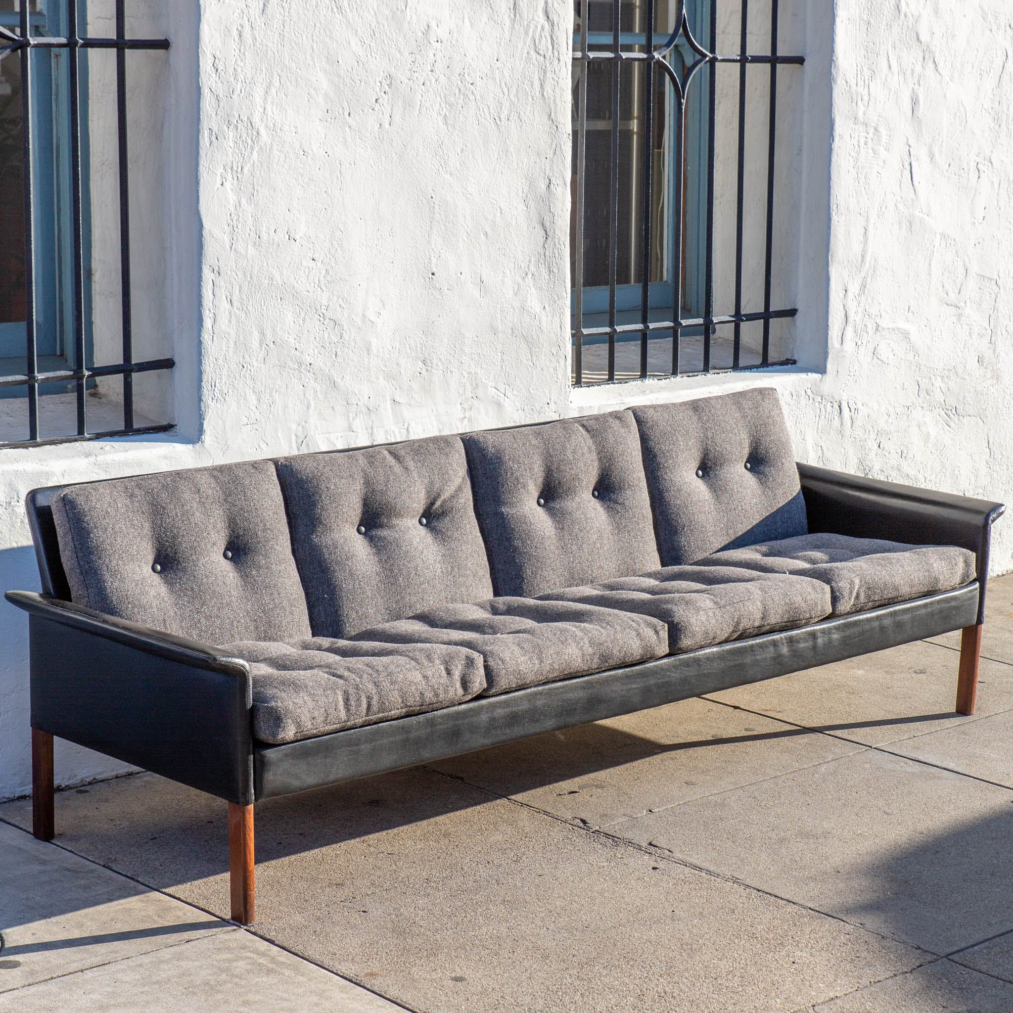 Hans Olsen Leather and Rosewood 4 Seat Sofa - The Blue Door