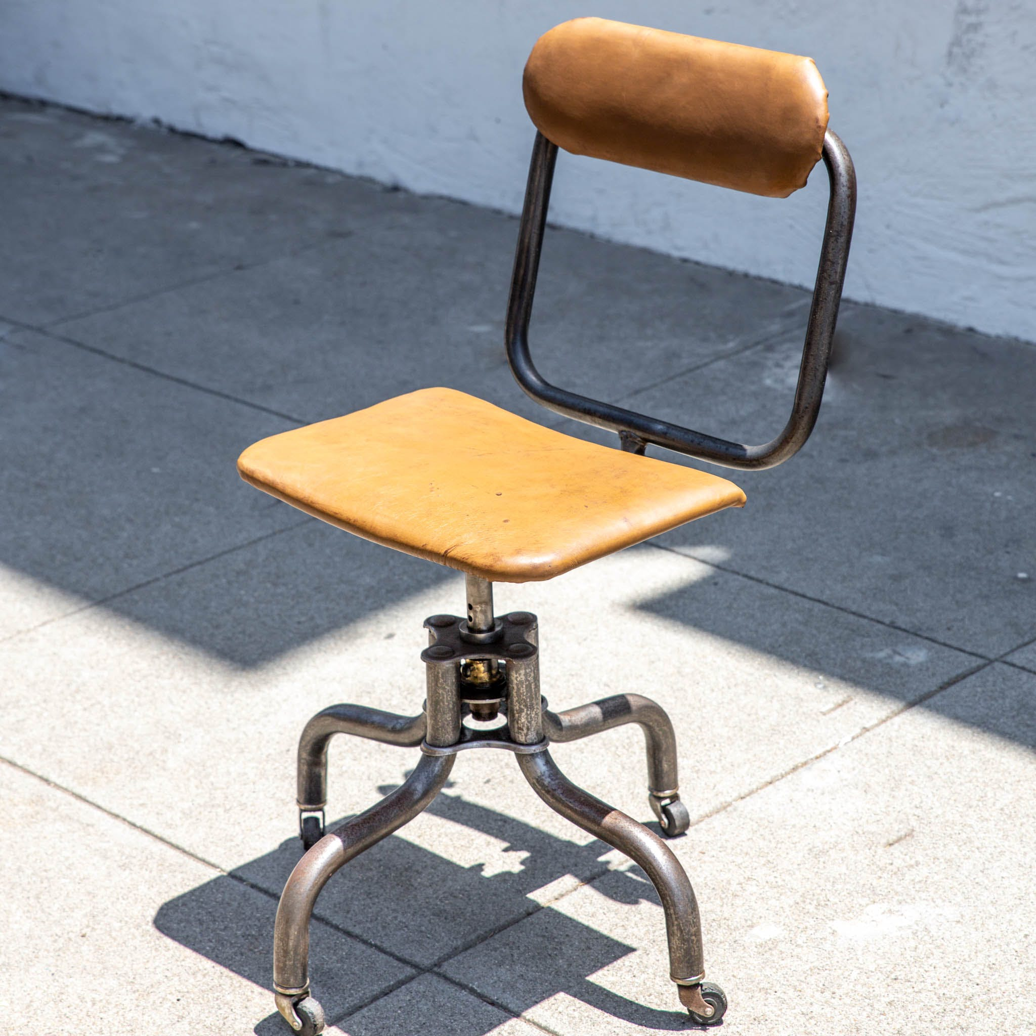 Vintage Industrial Leather Swivel Desk Chair By Fritz Cross