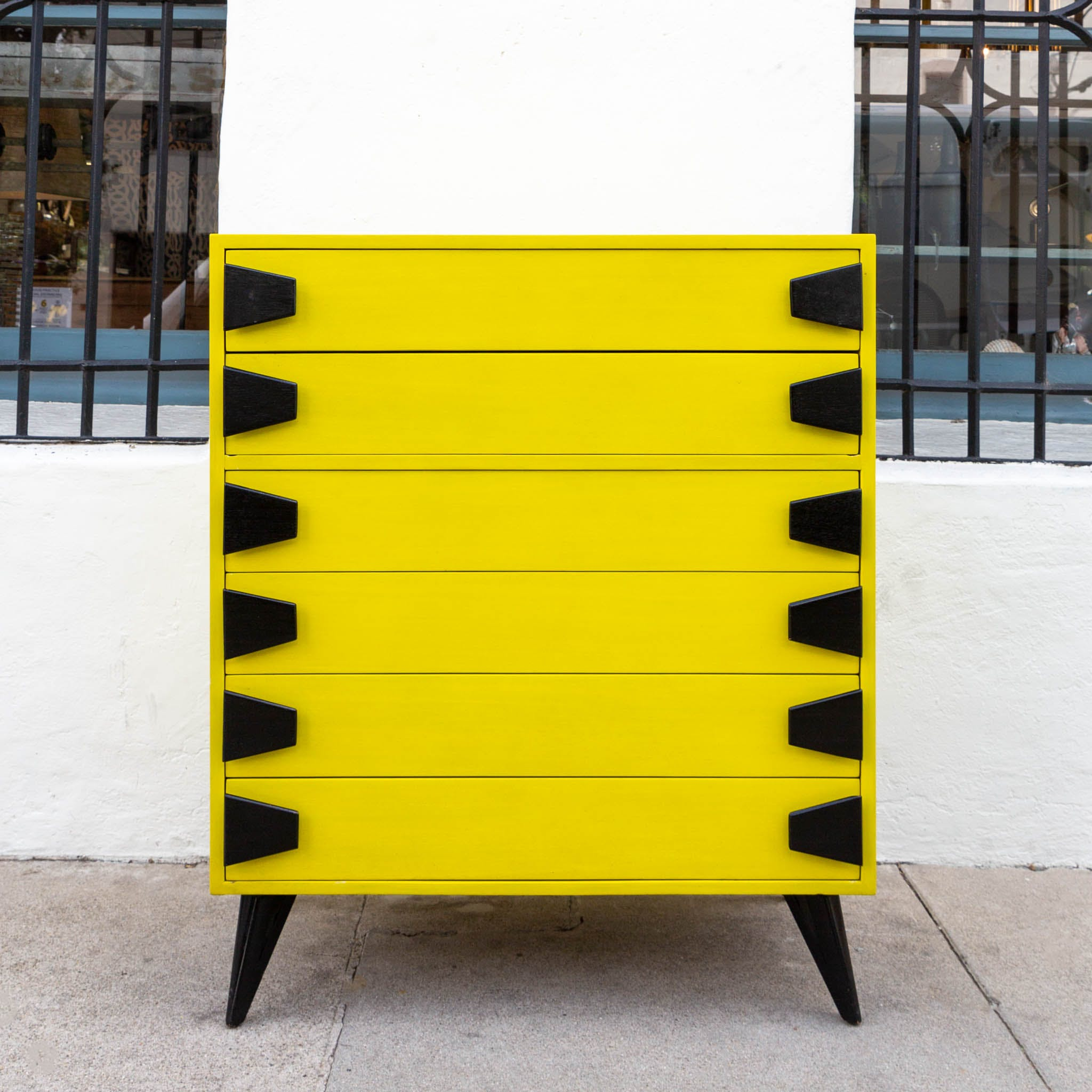 Picture of: Chartreuse Mid Century 6 Drawer Highboy Dresser With Black Atomic Handles And Legs The Blue Door